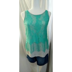 a.n.a Lace Overlay Fringe Tank Awesome Condition